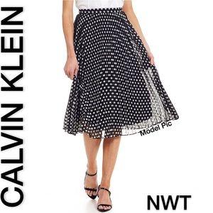 NWT Calvin Klein Pleated Polka Dot Medi Skirt (S)